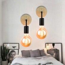 Винтажный деревянный настенный светильник, крепеж для настенных светильников E27 110V 220V, прикроватный ретро-светильник, промышленный декор, о...