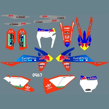 For KTM EXC EXCF XCW 2017 2018 2019 SX SXF XC XCF 2016 2017 2018 Full Graphics Decals Custom Number Name Glossy Bright Stickers