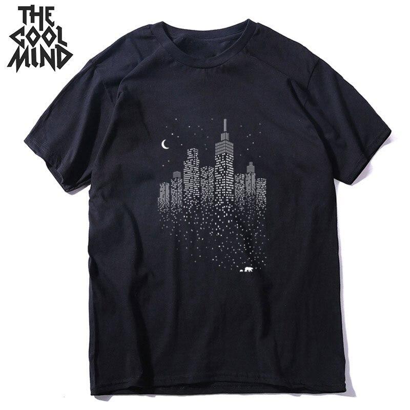 COOLMIND Short Sleeve 100% Cotton City Print Men Tshirt Loose Summer Men T Shirt Cool Print Tops Male Men Tee Shirts