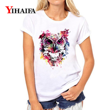 Women 3D T-shirt Painted Owl Animal Graphic Tee Casual Ladies Short Sleeve Summer White T shirts Unisex Tops цена