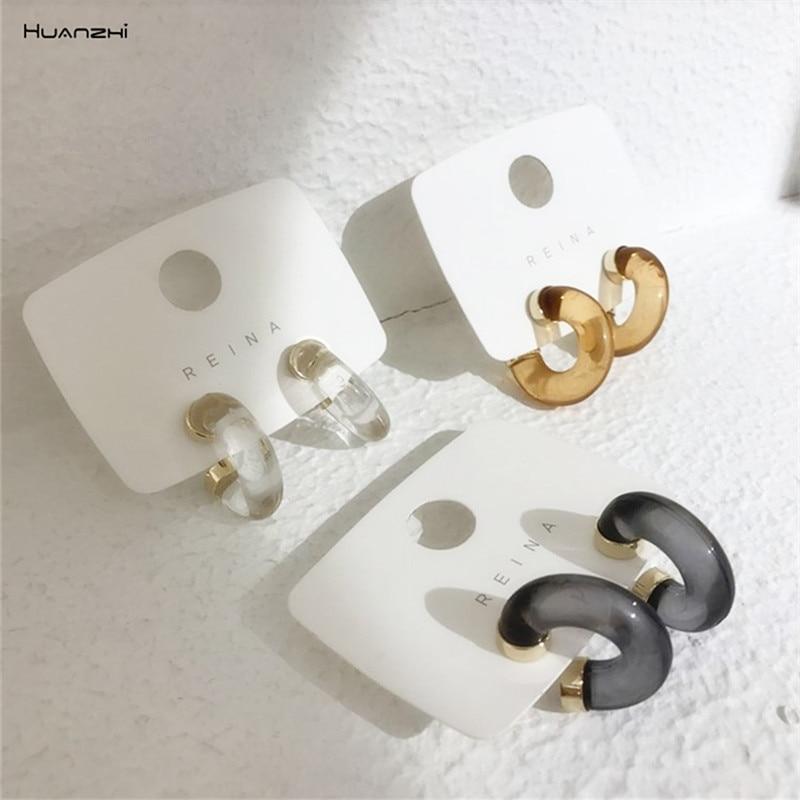 HUANZHI 2020 модные красочные прозрачные акриловые серьги-кольца геометрические серьги с-образной формы для женщин и девушек ювелирные изделия ...