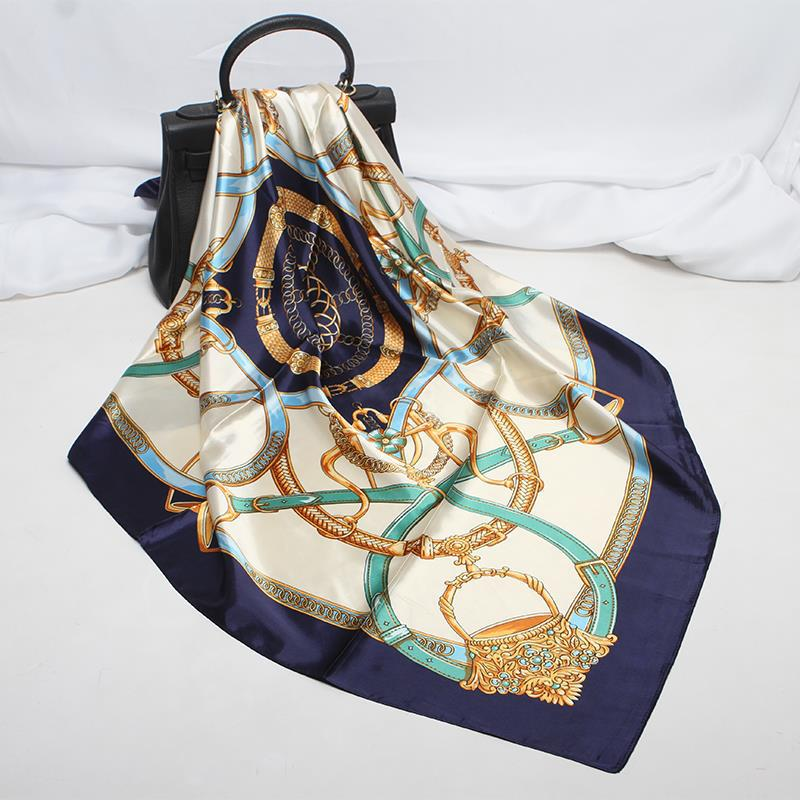 90*90cm Simulation Silk Belt Printed Neck Scarf Female Office Handkerchief Soft Square Muslim Retro Headscarf Women 2020 Spring