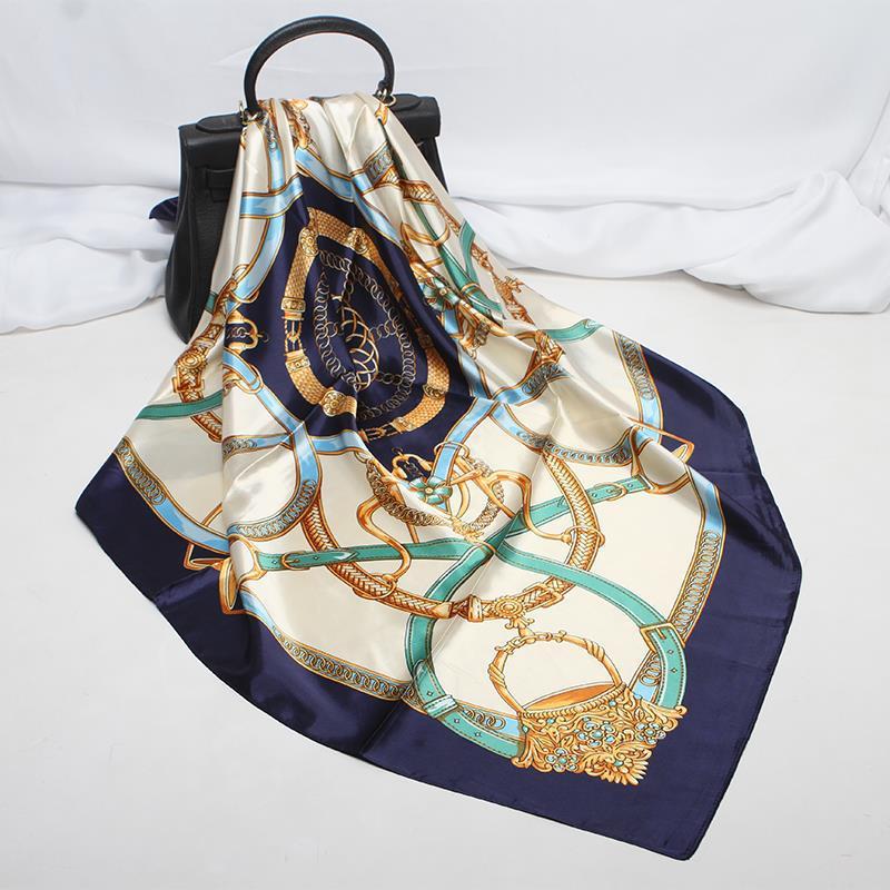 90*90cm de simulación cinturón de seda impreso cuello bufanda mujer Oficina pañuelo suave Plaza musulmana Retro pañuelo de las mujeres de la primavera de 2020