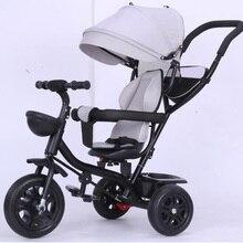 4 In 1 Baby Tricycle Folding Rotating Seat Baby Infant Stroller 3 Wheel Bicycle Kids Bikes Three Wheel Stroller Baby Trolley HWC