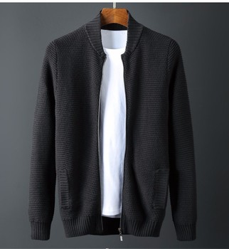 TOP Plus size Autumn brand men's clothing cotton loose sweater cardigan stand collar Chinese style sweater M-6XL XXXL