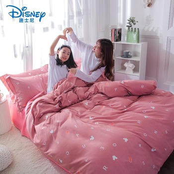 Disney children bedding set Single Twin size mickey bed linens duvet cover set Nordic style bed sheet AB side duvet cover kids