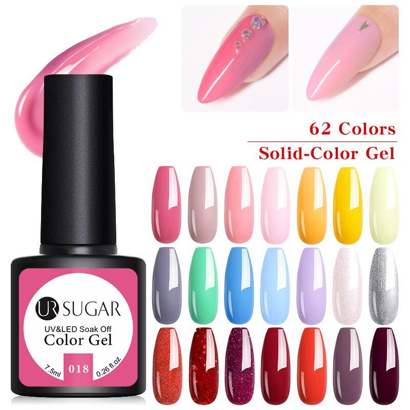 UR SUGAR Glitter UV Gel Nail Polish 62 Colors Shining UV Nail Gel Varnish Semi Permanent Hybrid Nail Enamel Led Polish