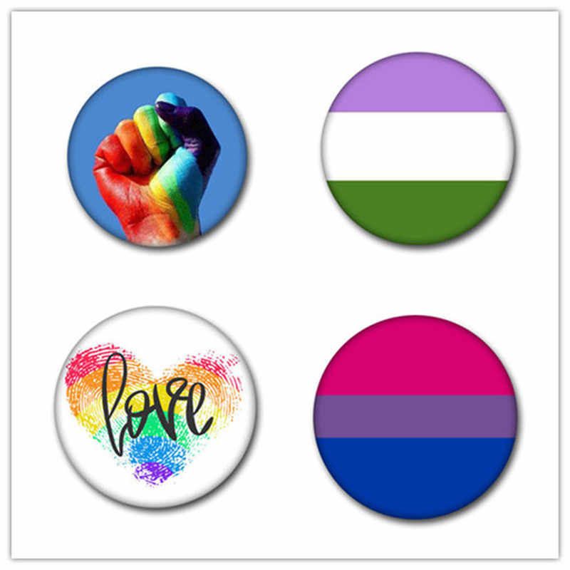 T1 LGBT Pride Rainbow Flag Tinplate Badge Support Gay Lesbian Bisexual Transgender Symbol Pin Lgbt Icons Rozet Brooch