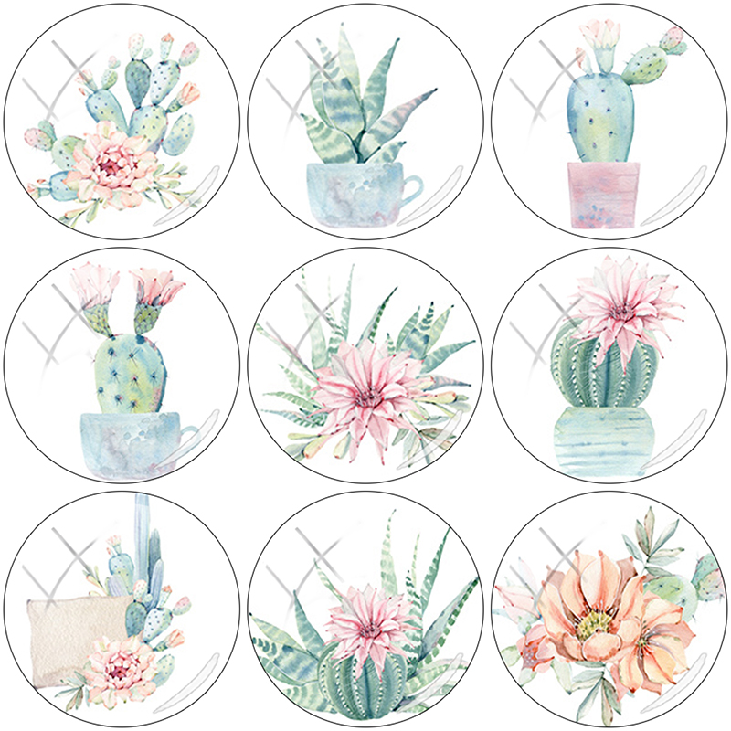 TAFREE 2019 NEW hand-painted cactus Flower 12/15//16/18//20//25 mm Glass Cabochon Dome Flat Back DIY Jewelry Making CA154(China)
