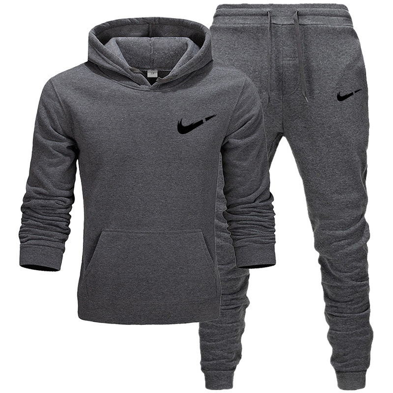 Men's Fashion Tracksuit Casual Sportsuit Men Hoodies/Sweatshirts+Sweatpants Fashion Pattern Print Jogger Suit Men Set