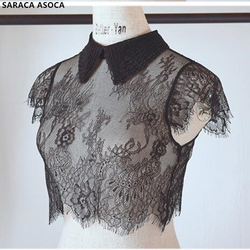 Fashion Lace Perspective Black Standing Detachable Collars Shawl Women All Match Lace Sweater Faek Collar Smock Lady A66