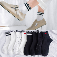1 Pair Women Socks Striped Heart Cotton Dots Black White Autumn Winter Ruffled Cute Comfortable Halloween Party
