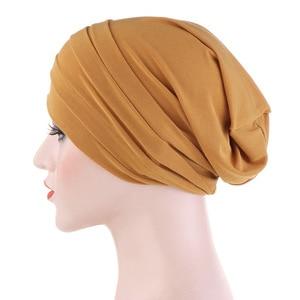 Image 4 - 2020 חדש אביב צבעים בוהקים טורבן כובע כימותרפיה סרט מצח ערימת כובע כיסוי ראש מוסלמי נשים שיער אבזרים