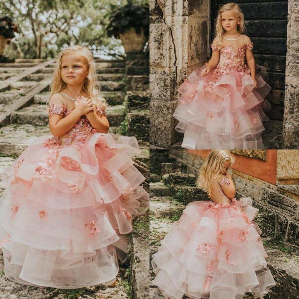 Pink Princess Flowers Girls Dresses Appliques Tiered Skirts Pageant Gowns Short Sleeve Toddlers Kids First Communion Gowns