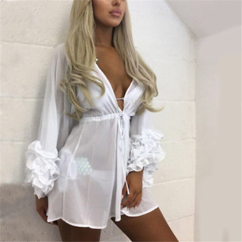 Women Sexy Beach Cover Up Beach Woman Long Puff Sleeve Covers Up Maio Feminino Praia Mesh Beach Dress Tunic Robe