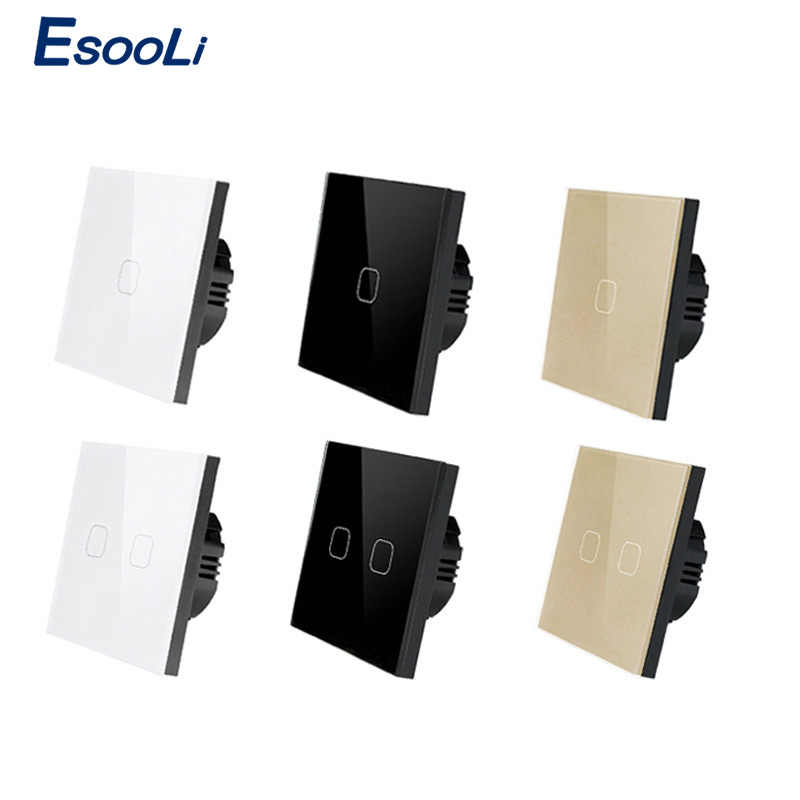 Esooli EU/UK standard Touch Switch White Crystal Glass Panel Touch Switch 1 Gang 1 Way Light Wall Only Touch Function Switch