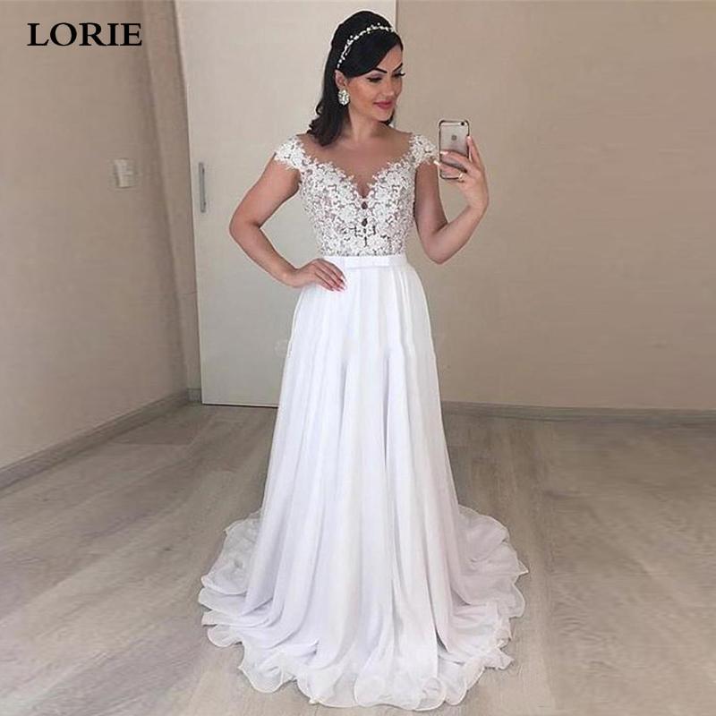 LORIE Boho Wedding Dresses Cap Sleeve A Line Chiffon Long Backless Beach Wedding Gown Appliques Lace Wedding Bride Gowns