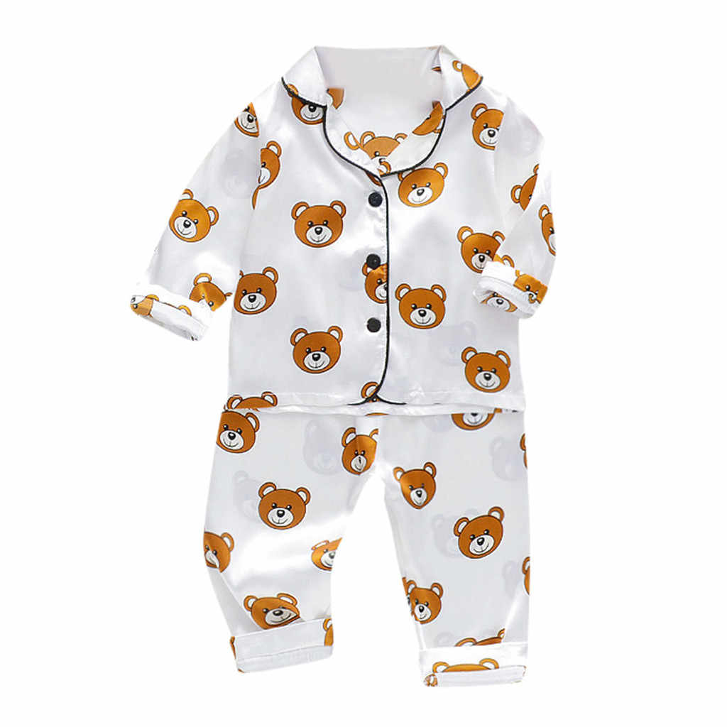 Kids Baby Boys Sleepwear Long Sleeve Cartoon Bear Tops+Pants Pajamas Outfits Set Homewear Toddler Boy Clothes 1 2 3 4 5 Years