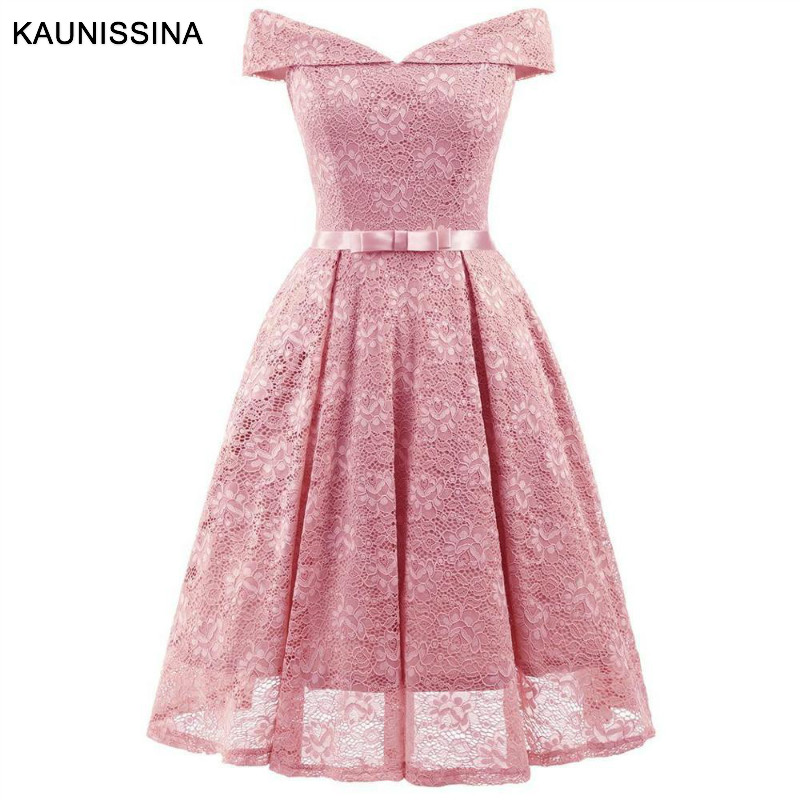 KAUNISSINA Women Off Shoulder Sexy Cocktail Dresses Lace Homecoming Rob Sleeve Floral Vintage A-Line Short Vestidos Party Prom