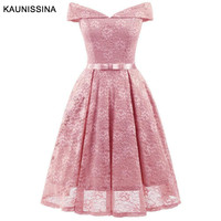 KAUNISSINA Women Off Shoulder Sexy Cocktail Dresses Lace Homecoming Rob Sleeve Floral Vintage A Line Short Vestidos Party Prom