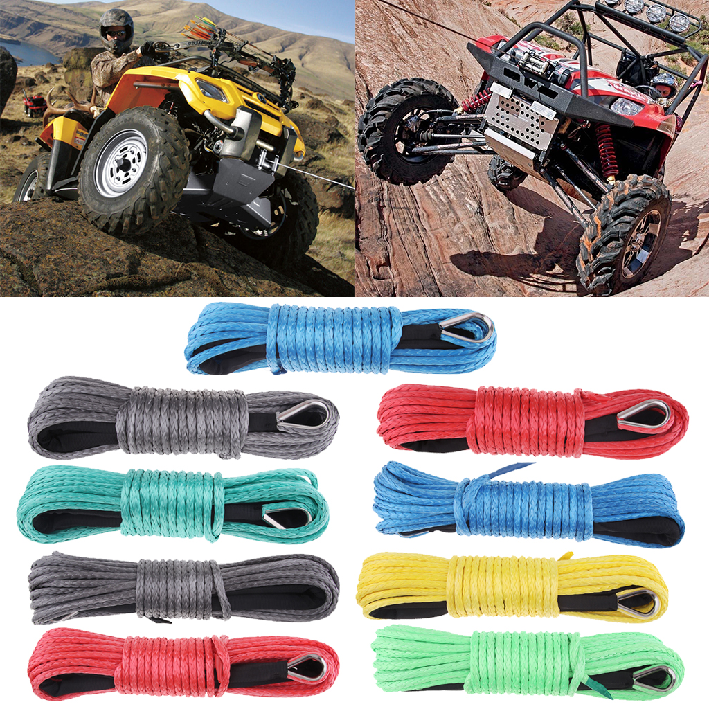 1/4'' X 50' 7700LBs Synthetic Winch Line Cable Rope With Sheath ATV UTV