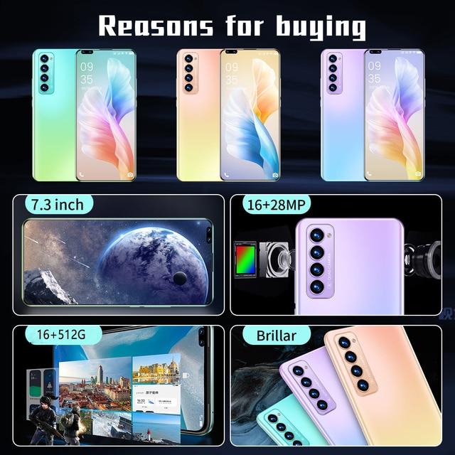 "X2 PRO New Smartphone Global Unlocked Android 10.0 Smart Phone 7.3"" Full HD 512GB 5000mAh Mobile Phone Fingerprint 5G Phone 6"