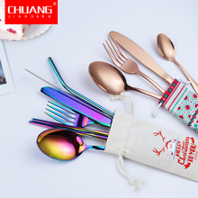 цена на Christmas Style Colorful Stainless Steel Dinnerware Set Cutlery Set Fork Spoon Chopsticks Portable Bag Travel Cutlery Set Table