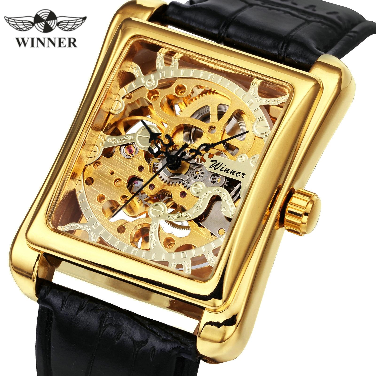 WINNER Official Elegant Women Watches Brand Luxury Mechanical Ladies Watch Leather Strap Golden Skeleton Retro Rectangle Clock