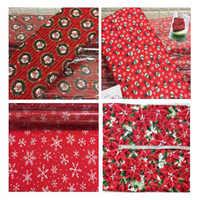Abbastanza Buon Natale Rosso Fiocco di Neve Pupazzo di Neve Babbo natale Fiore Stampato Tessuto di Cotone Per Il Cucito FAI Da TE Abbigliamento Biancheria Da Letto Quilting