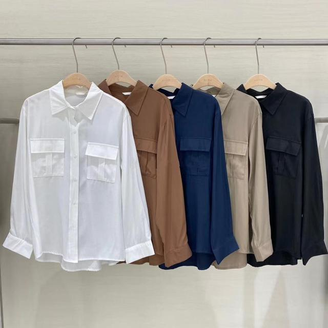 REALEFT Autumn 2020 New Solid White Women's Blouse Pockets Shirt Tops Long Sleeve Turn-down Collar Korean Style Loose Blouses 5