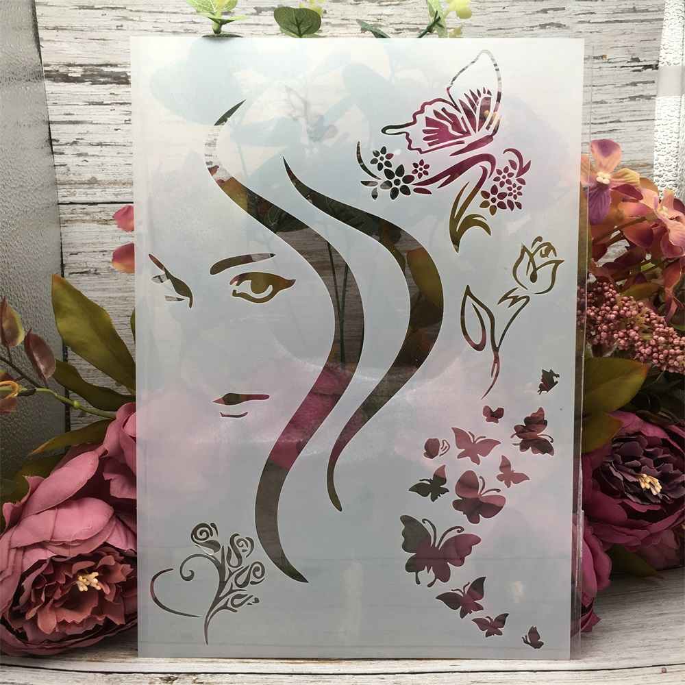 29*21cm A4 Beautiful Girl Butterfly DIY Layering Stencils Wall Painting Scrapbook Coloring Embossing Album Decorative Template