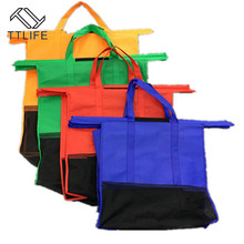 4pcs Cart Trolley Supermarket Shopping Bag Grocery Grab Shopping Bags Foldable Tote Health Eco-friendly Reusable Supermarket Bag large shopping bag waterproof lightweight reusable grocery bags washable foldable shopping tote bags eco friendly shoulder bag