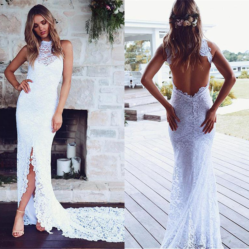BacklakeGirls Sexy Halter Sleeveless Lace Long Evening Dress For Wedding Evening Formal Party Robe De Soiree Longue Mariage