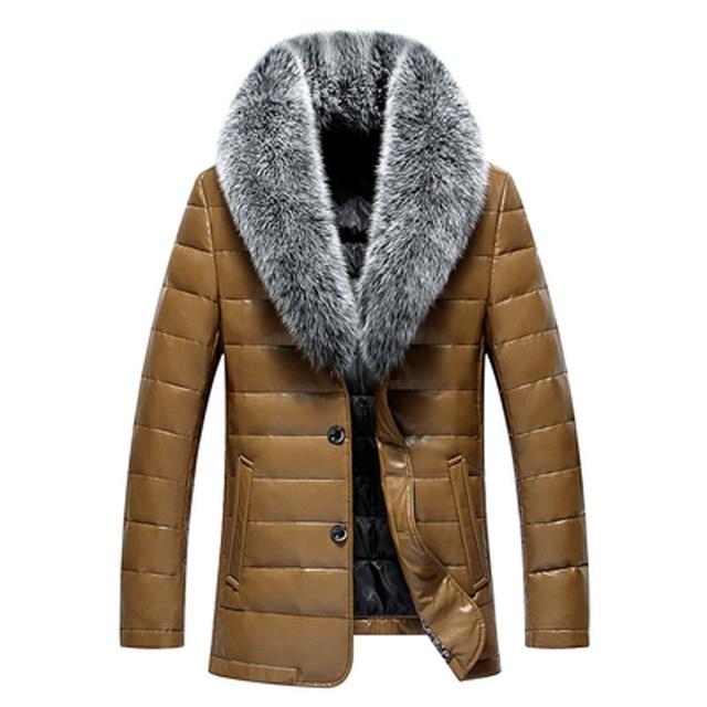 Winter New Big Real Fur Collar Veste Homme Cuir White Duck Down-padded Jaket Kulit Pria 2