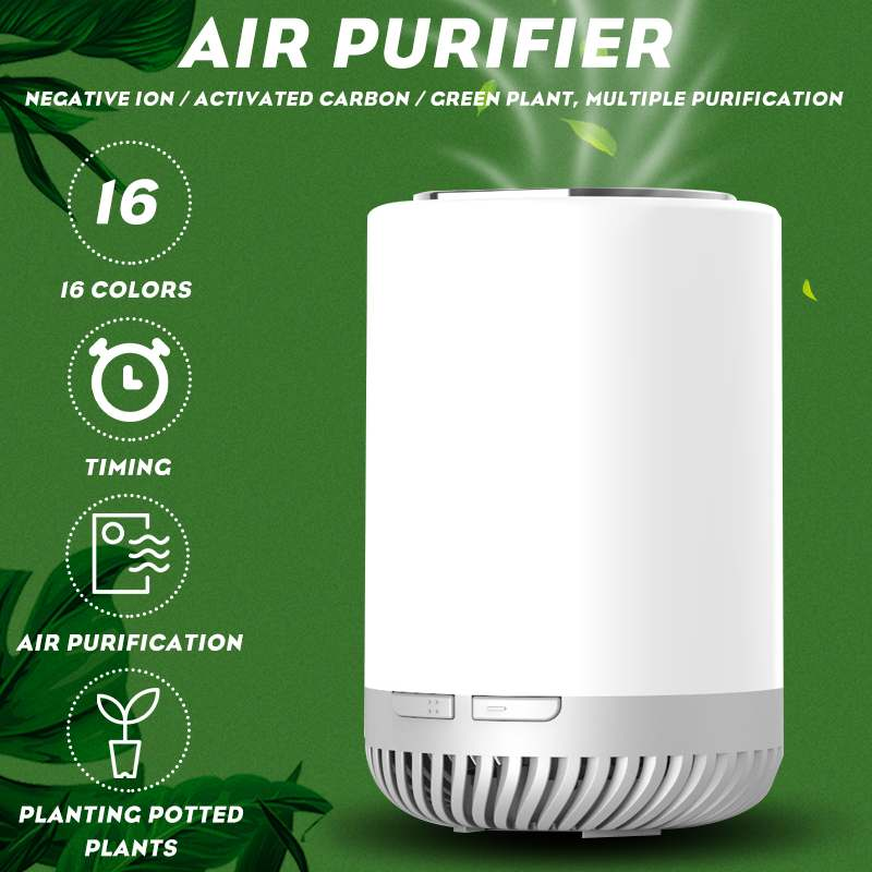 Air Purifier For Home True Negative Ion Filters Green Plant USB Desktop Purifiers Filtration with LED Night Light Air Cleaner