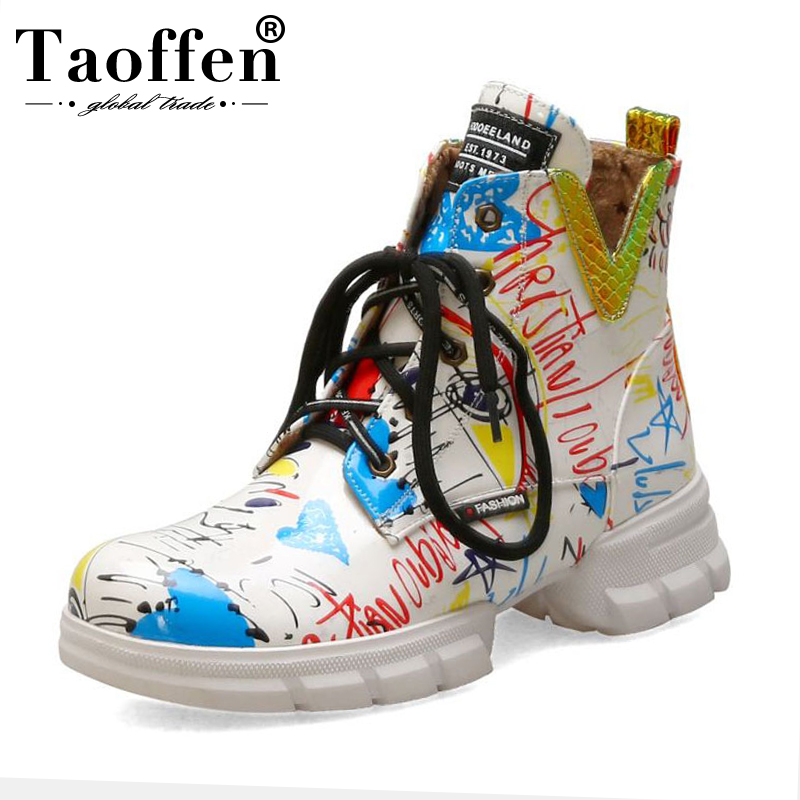 TAOFFEN Trend Ankle Boots Women Fashion Color Graffiti Harajuku Sneaker High Top Lace Up Casual Winter Flats Boots Size 33-43