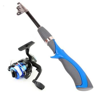цена на Telescopic Fishing Rod Combo Portable 6 Section Carbon Fiber Fishing Rod and Mini Spinning Reel Fishing Tackle Set Fishing Tools