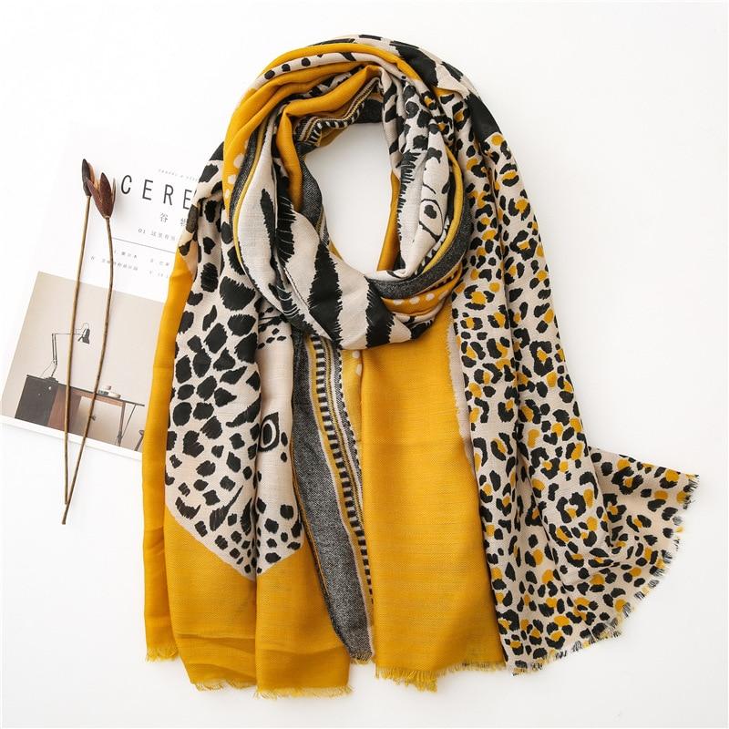Fashion Animal Leopard Dot Fringe Viscose Shawl Scarf Women High Quality Autumn Winter Wrap Pashmina Stole Bufandas Muslim Hijab