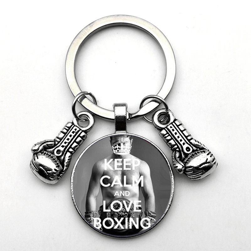 Unique Essential Keychain Occupation Boxing Gloves Keychain Gloves Pendant Convex Round Glass Keychain Inspirational Personality