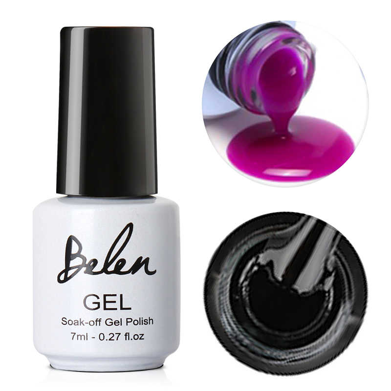 Belen 7ml UV GEL PURE สีเล็บโปแลนด์เจล Lacquer 50 สีเจลกึ่งถาวรเจลเคลือบเงารองพื้นเล็บ BaseTop