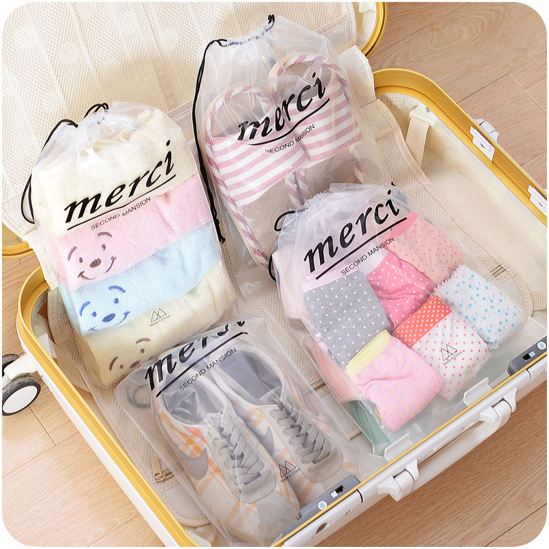 Casual Transparent Drawstring Bag Travel Luggage Packing Organizers Waterproof Clothes Shoes Storgae Bag Toiletry Kit Pouch