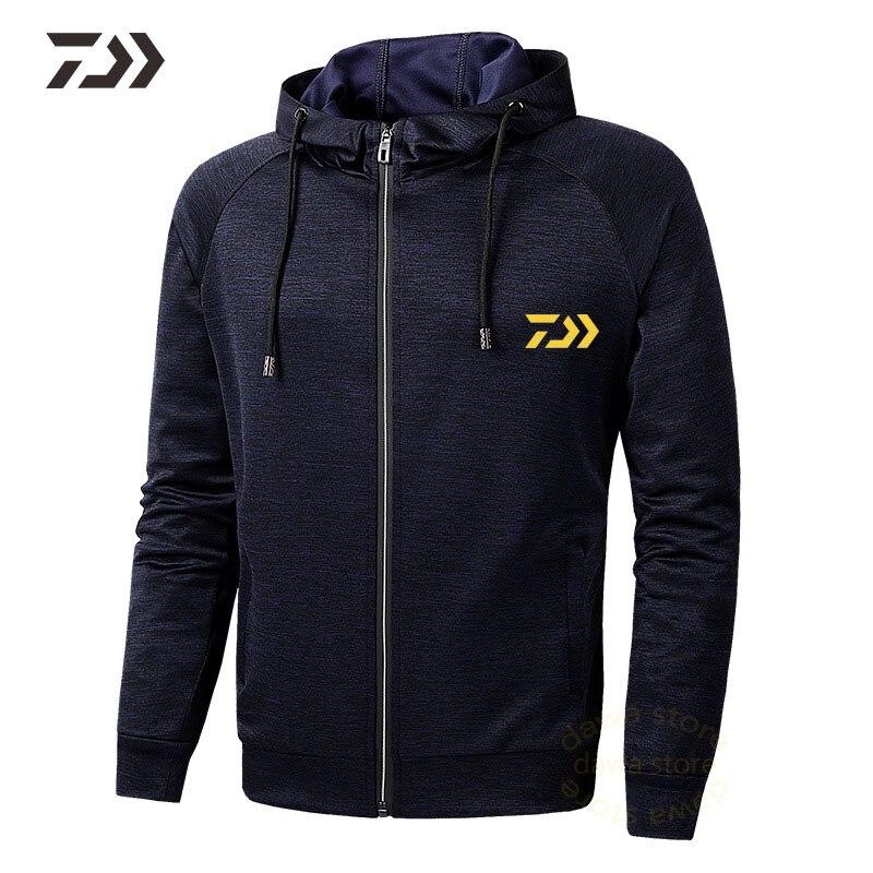 Daiwa Hooded Fishing Shirt Long Sleeve In Hiking Shirts Spring Autumn Breathable Solid Sweatshirt Men Sportswear Fishing Jacket
