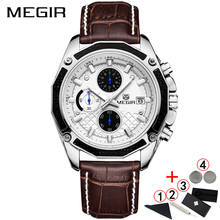 Horloges Mannen 2019 Top Merk Luxe MEGIR Fashion Business Horloge Mens Classic Waterdichte Lederen Chronograaf Horloges Mannen 2018