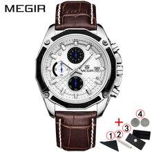 MEGIR relojes de negocios para hombre, cronógrafo de cuero, clásico, resistente al agua, 2019