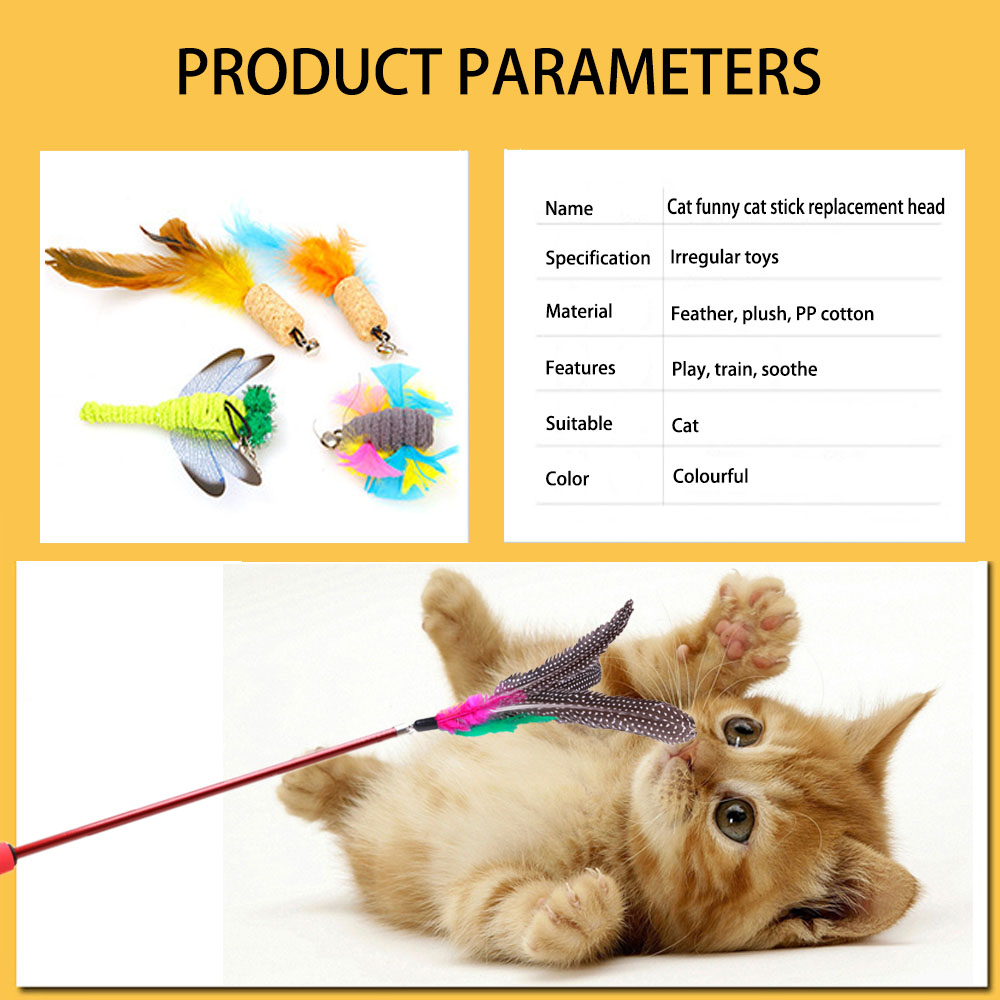 Image 5 - 20 optional cat toys,flying fish, feathered cat stick replacement head,dragonfly, fishing rod,  Cat cat interactive fun toyCat Toys   -