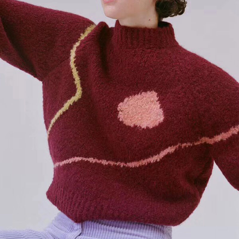 Women Sweater 2019 Fall Winter New Pullover Color Abstract Line Sweater Loose Knit