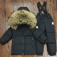 Kids Winter Clothing Set Natural Fur Collar Children Down Jacket And Pants Overalls Suit For Baby Boys Girls 85 145CM Snowsuit