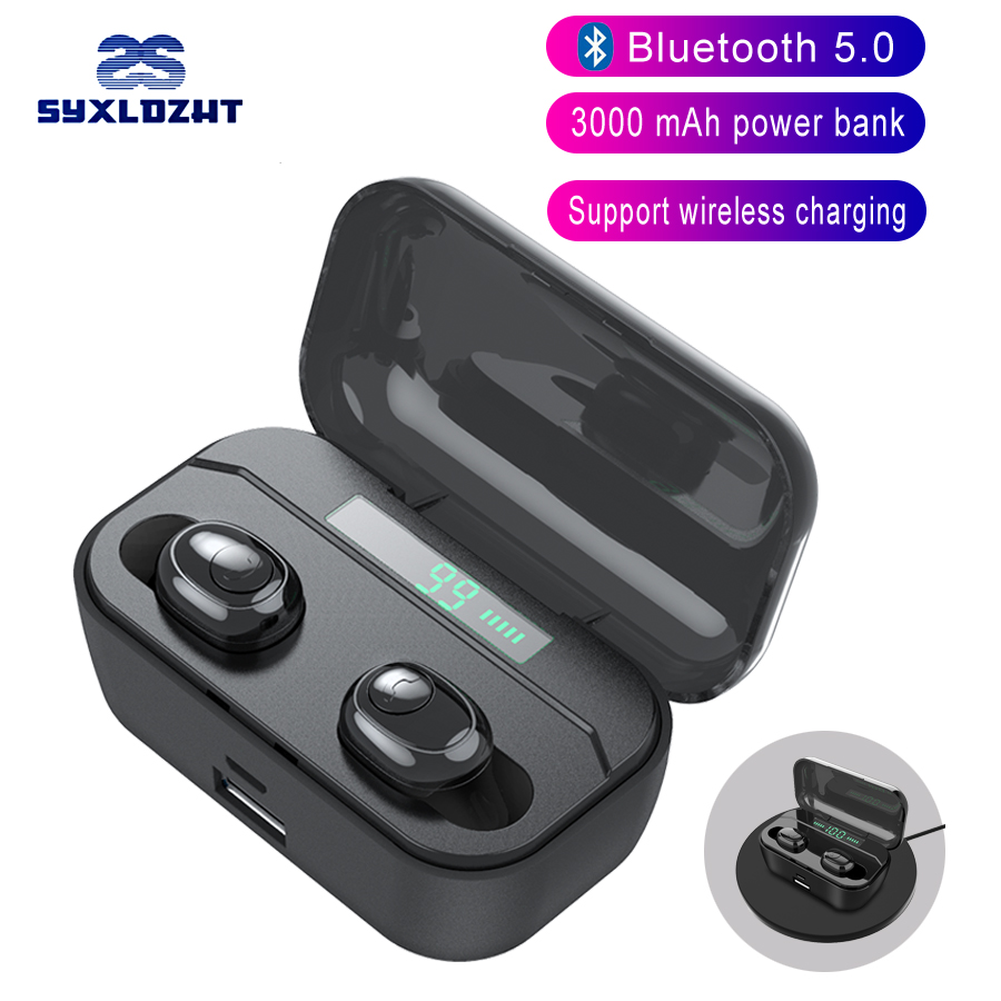 3000 mAh Power Bank Charge Phone True Wireless Bluetooth Headphones Binaural Call Wireless Earphones Handsfree Earbuds headset