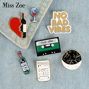 Moon Night Dating Enamel Pins GOOD VIBE Wine Music Badges Custom Brooches Bag Clothes Lapel Black Jewelry Gift for Lovers(China)