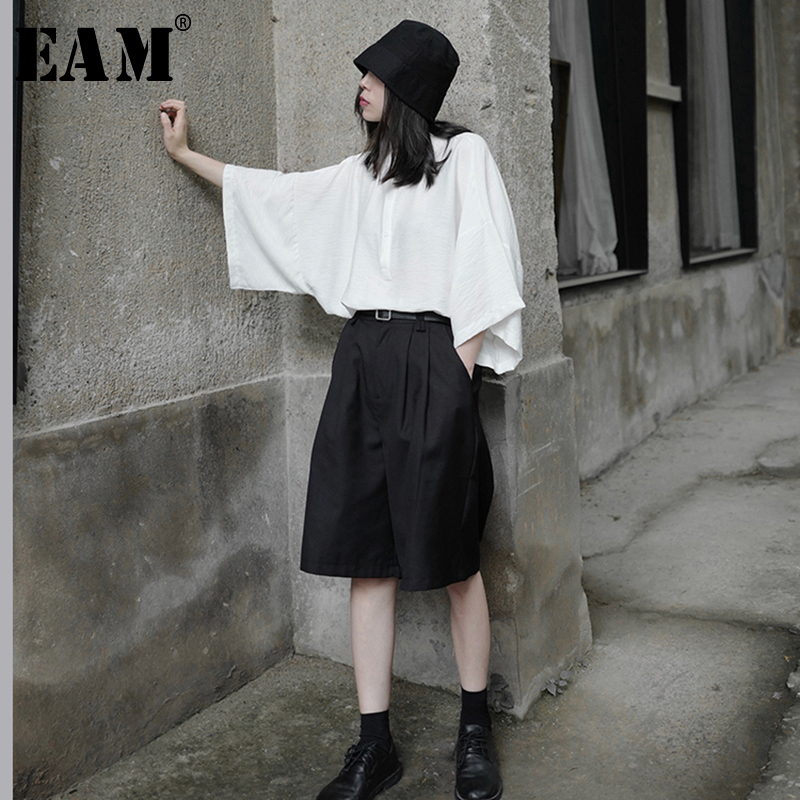 [EAM] Women White Brief Big Size Blouse New Lapel Three-quarter Sleeve Loose Fit Shirt Fashion Tide Spring Summer 2020 1W719